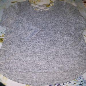 Knitted Top, Lightweight Sweater, Gray